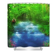 Hiking At The Rivers Edge Shower Curtain