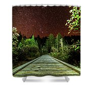 Hiking Into The Night Adirondack Log Keene Valley Ny New York Shower Curtain