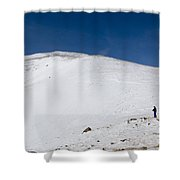 Hiking To Summit Of Mount Elbert Colorado In Winter Shower Curtain