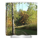 Hiking Trail In Autumn Sunset Shower Curtain
