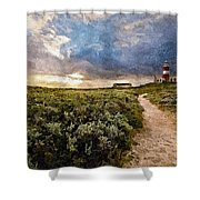 Hill Road To A Lighthouse H A Shower Curtain