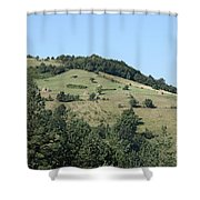 Hill With Haystack And Trees Landscape Shower Curtain