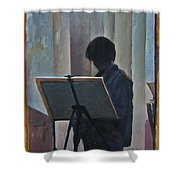 Hillary At The Easel Shower Curtain