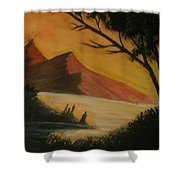 Hills During Sunset Shower Curtain