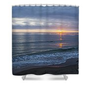Hills Of Clouds With Ocean Sunset Shower Curtain