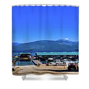 Hill's Resort On Priest Lake Shower Curtain