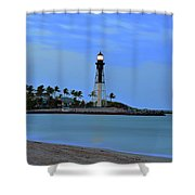 Hillsboro Lighthouse Twilight Time Shower Curtain