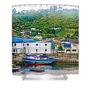 Hillside Along Harbor Near Angelo Fish Market In Puerto Montt-chile  Shower Curtain
