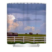 Hillside Hay Bales At Sunset Shower Curtain