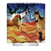 Hillside Horses Shower Curtain