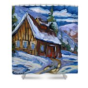 Hillsidebarn In Winter Shower Curtain