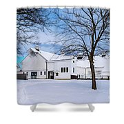 Hilltip Farm In Snow Shower Curtain