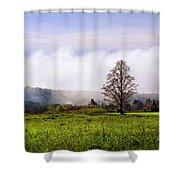 Hilltop Fog Sunrise Landscape Shower Curtain