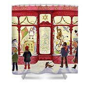 Hilltop Toys And Games Shower Curtain by Lavinia Hamer