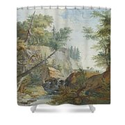Hilly Landscape With A River And Figures In The Background Shower Curtain