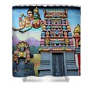 Hindu Deities On Wall Mural Of Sri Senpaga Vinayagar Tamil Temple Ceylon Rd Singapore Shower Curtain
