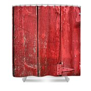 Hinge On A Red Barn Shower Curtain