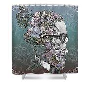 Hipster Floral Skull 2 Shower Curtain