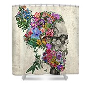Hipster Floral Skull Shower Curtain
