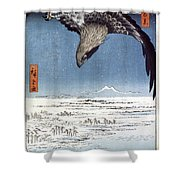 Hiroshige: Edo/eagle, 1857 Shower Curtain