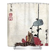 Hiroshige: Poppies Shower Curtain