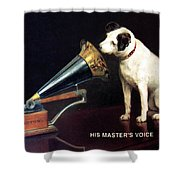 His Master's Voice - Hmv - Dog And Gramophone - Vintage Advertising Poster Shower Curtain