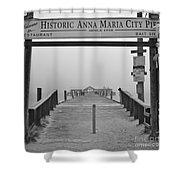 Historic Anna Maria City Pier In Fog Infrared 52 Shower Curtain