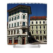 Historic Art Nouveau Buildings At Preseren Square White Tiled Ha Shower Curtain