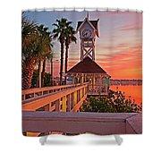 Historic Bridge Street Pier Sunrise Shower Curtain