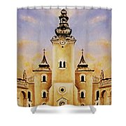 Historic Church And Town Square, Graphic Work From Painting. Shower Curtain