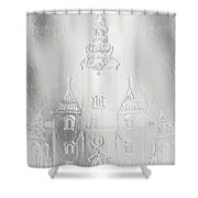 Historic Church And Town Square, Graphic Work From Painting. Metal Effect. Shower Curtain