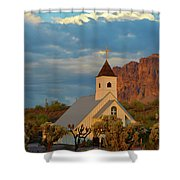 Historic Church In Superstition Mountain State Park Shower Curtain
