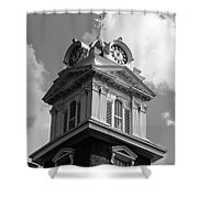 Historic Courthouse Steeple In Bw Shower Curtain by Doug Camara