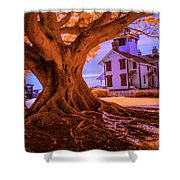 Historic Fermin Point Lighthouse In Infrared Shower Curtain