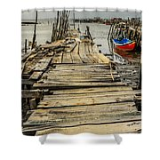 Historic Fishing Pier In Portugal I Shower Curtain