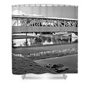 Historic Halls Mill Bridge Reflections Black And White Shower Curtain