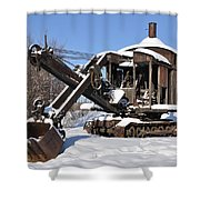 Historic Mining Steam Shovel During Alaska Winter Shower Curtain