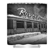 Historic Rosie's Diner In Black And White Infrared Shower Curtain