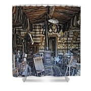 Historic Saddlery Shop - Montana Territory Shower Curtain by Daniel Hagerman
