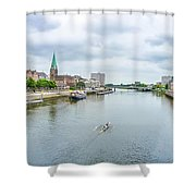 Historic Town Of Bremen And Weser River Shower Curtain