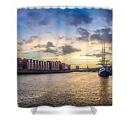 Historic Town Of Bremen With Weser River Shower Curtain