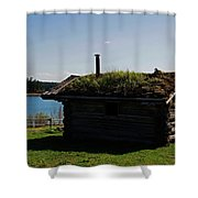 Historic Trappers Log Cabin Shower Curtain