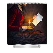 Historical Victorian Woman Reading A Letter By Candlelight Shower Curtain