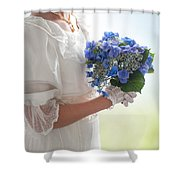Historical Woman Holding A Bouquet Of Hydrangea  Shower Curtain