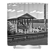 History At The Bend Black And White Shower Curtain