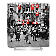 Hitler With Goering And Himmler Marching In Munich Germany C.1934-2016  Shower Curtain