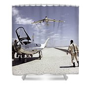 Hl-10 On Lakebed With B-52 Flyby Shower Curtain by Artistic Panda