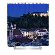Hlltop Ljubljana Castle Overlooking The Old Town Of Ljubljana Ca Shower Curtain