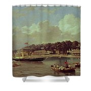 Hm Yacht Victoria Shower Curtain by George Gregory