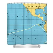 H.m.s. Beagle Course To Galapagos Shower Curtain